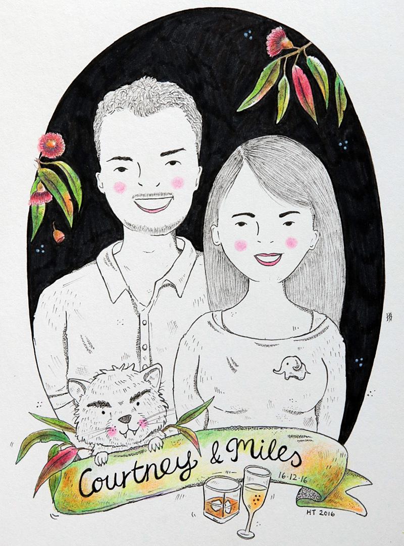 nature_couple_portrait_wedding_illustration_courtney