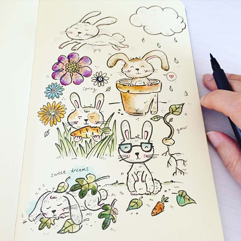 Perth_Illustration_Moleskine_Art_bunnies