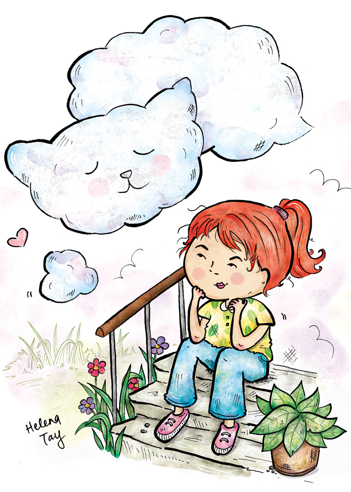 kitty_girl_daydreaming_childrens_illustration