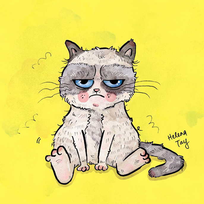 Perth_pet_portrait_illustration_grumpy_cat